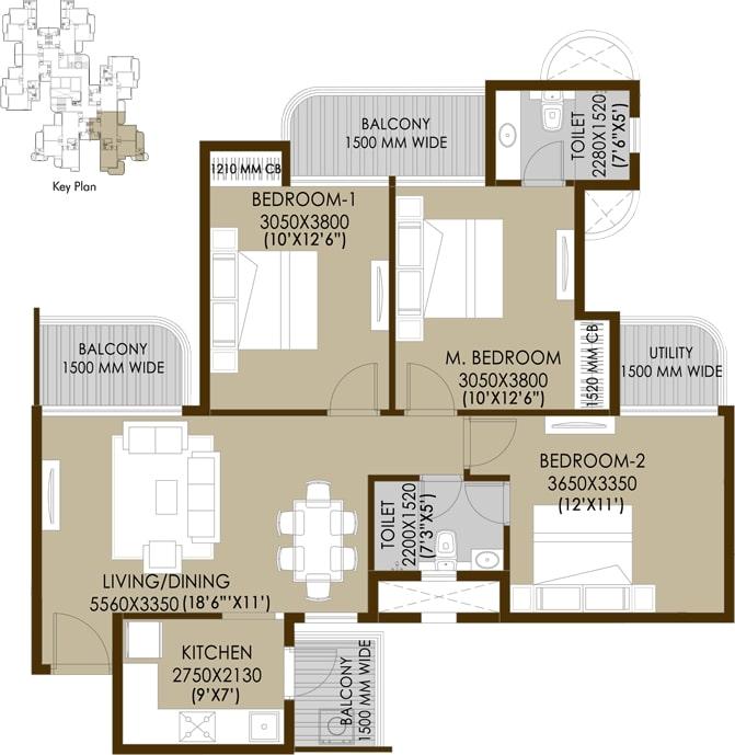 3bhk-2toilets-floor-plan