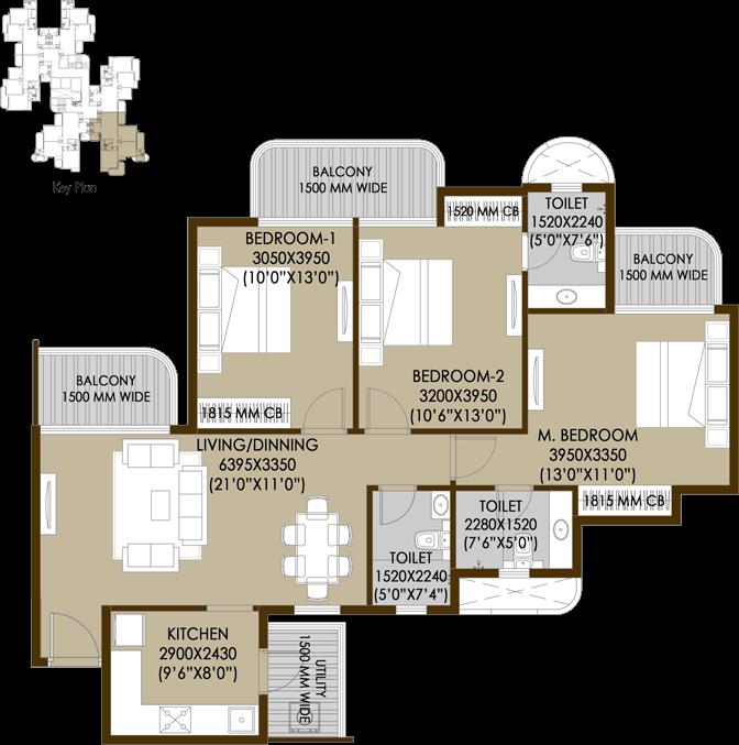 3bhk-3toilets-floor-plan
