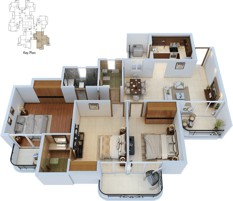 3bhk-3toilets-isometric-view